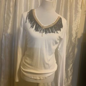 White fringed top